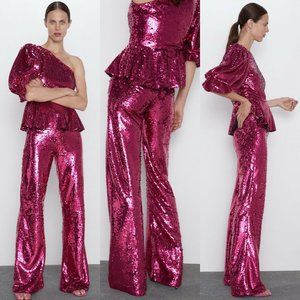 Zara Sequin Flared Pants Trouser Pink Fuchsia